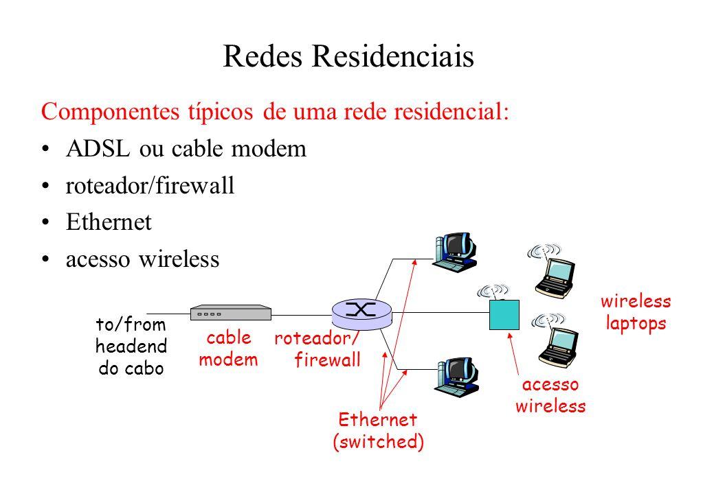 Redes Residenciais Componentes típicos de uma rede residencial: ADSL ou cable modem roteador/firewall Ethernet acesso wireless acesso wireless laptops roteador/ firewall cable modem to/from headend do cabo Ethernet (switched)