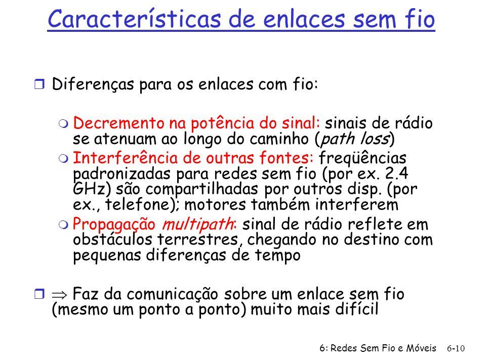 6: Redes Sem Fio e Móveis6-10 Características de enlaces sem fio r Diferenças para os enlaces com fio: m Decremento na potência do sinal: sinais de rá