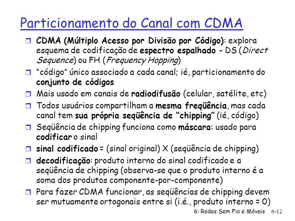 6: Redes Sem Fio e Móveis6-12 Particionamento do Canal com CDMA r CDMA (Múltiplo Acesso por Divisão por Código): explora esquema de codificação de esp