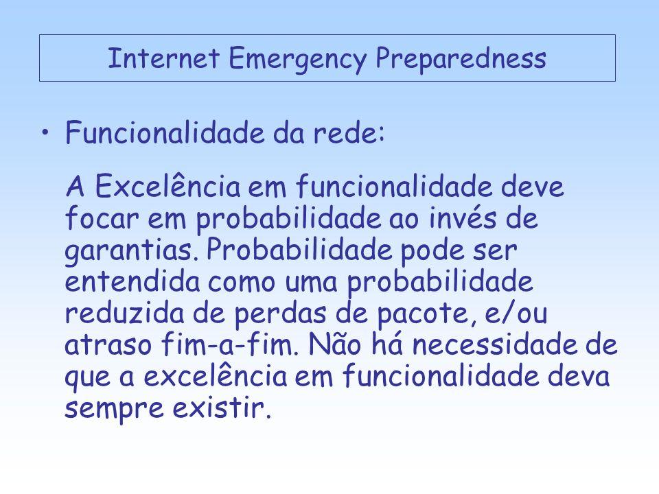 Funcionalidade da rede: A Excelência em funcionalidade deve focar em probabilidade ao invés de garantias.