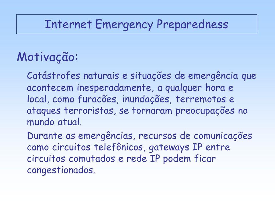 Internet Emergency Preparedness Motivação: Catástrofes naturais e situações de emergência que acontecem inesperadamente, a qualquer hora e local, como furacões, inundações, terremotos e ataques terroristas, se tornaram preocupações no mundo atual.