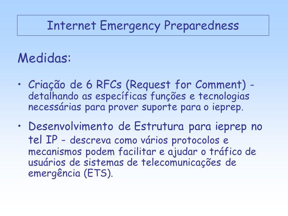 Sistemas de Comunicação de Emergência: GETS – Government Emergency Telecommunications Service (EUA) IEPS – International Emergency Preparedness Scheme (UIT) Internet Emergency Preparedness