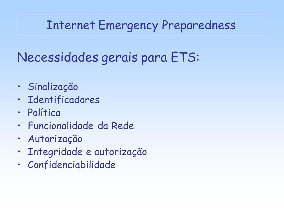 Necessidades gerais para ETS: Sinalização Identificadores Política Funcionalidade da Rede Autorização Integridade e autorização Confidenciabilidade Internet Emergency Preparedness