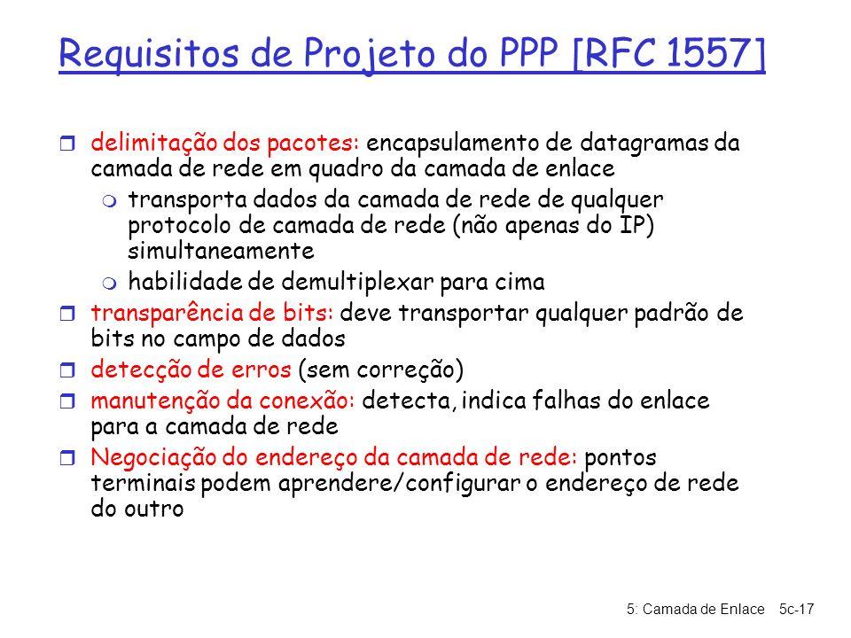5: Camada de Enlace5c-17 Requisitos de Projeto do PPP [RFC 1557] r delimitação dos pacotes: encapsulamento de datagramas da camada de rede em quadro d
