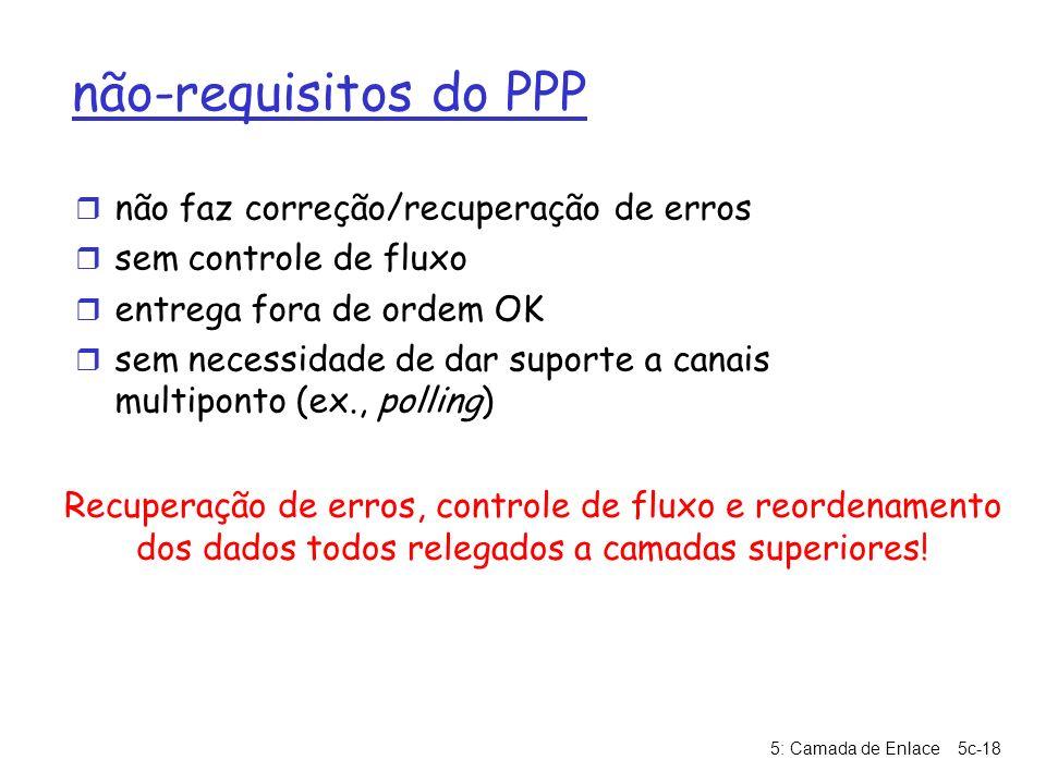 5: Camada de Enlace5c-18 não-requisitos do PPP r não faz correção/recuperação de erros r sem controle de fluxo r entrega fora de ordem OK r sem necess