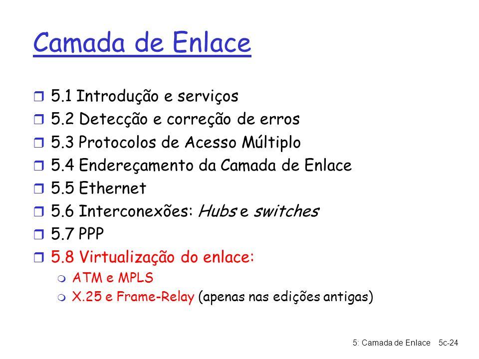 5: Camada de Enlace5c-24 Camada de Enlace r 5.1 Introdução e serviços r 5.2 Detecção e correção de erros r 5.3 Protocolos de Acesso Múltiplo r 5.4 End