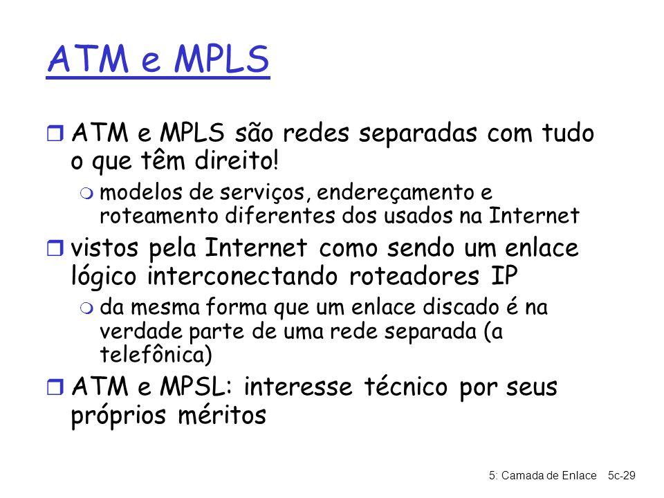 5: Camada de Enlace5c-29 ATM e MPLS r ATM e MPLS são redes separadas com tudo o que têm direito! m modelos de serviços, endereçamento e roteamento dif