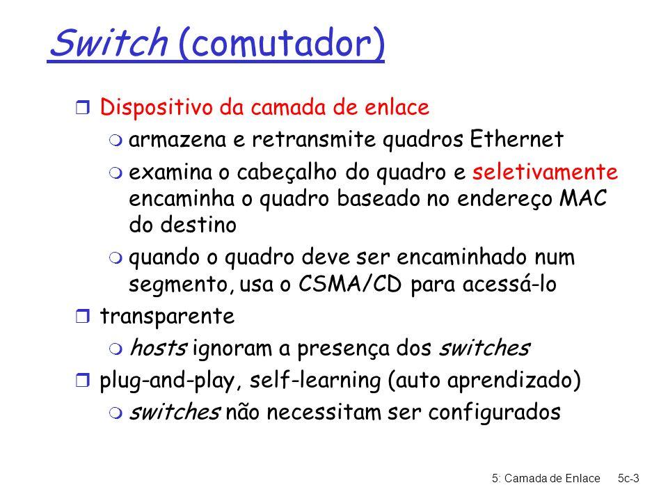 5: Camada de Enlace5c-3 Switch (comutador) r Dispositivo da camada de enlace m armazena e retransmite quadros Ethernet m examina o cabeçalho do quadro