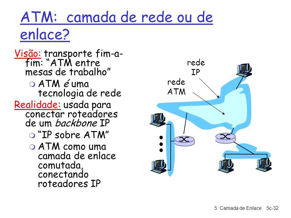 5: Camada de Enlace5c-32 ATM: camada de rede ou de enlace? Visão: transporte fim-a- fim: ATM entre mesas de trabalho m ATM é uma tecnologia de rede Re
