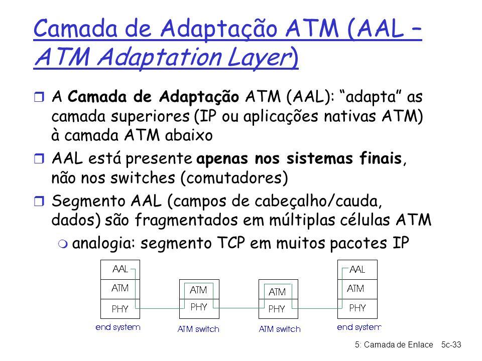 5: Camada de Enlace5c-33 Camada de Adaptação ATM (AAL – ATM Adaptation Layer) r A Camada de Adaptação ATM (AAL): adapta as camada superiores (IP ou ap