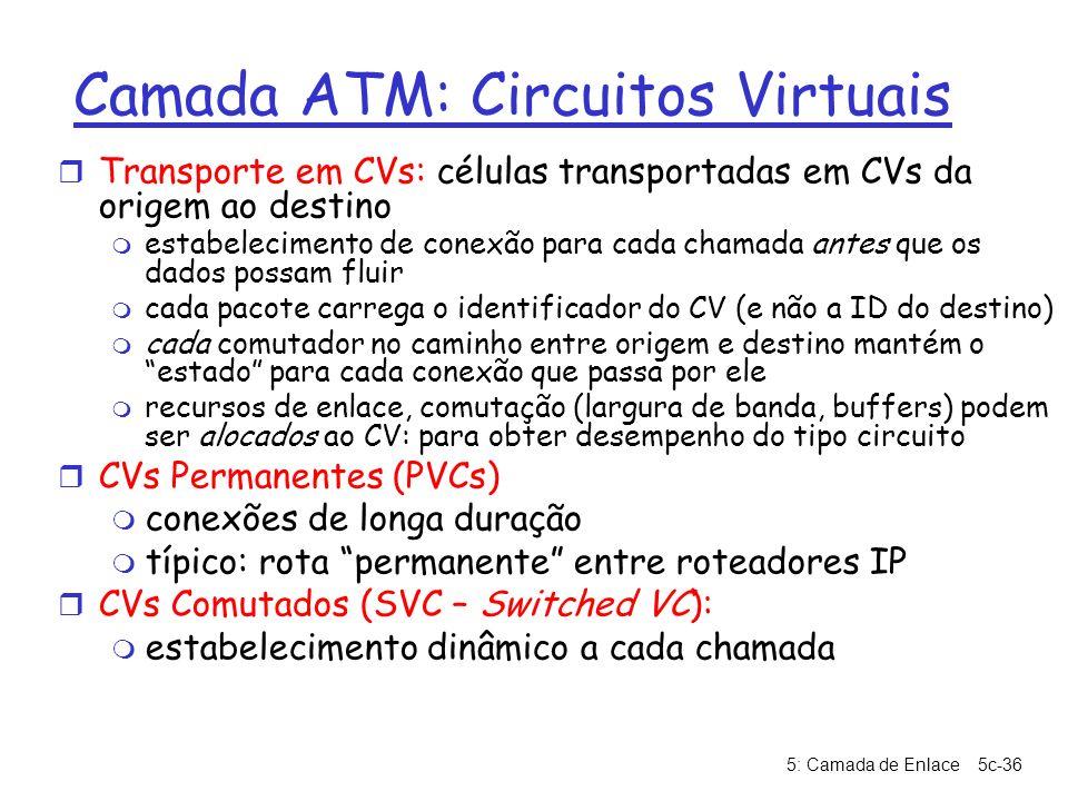 5: Camada de Enlace5c-36 Camada ATM: Circuitos Virtuais r Transporte em CVs: células transportadas em CVs da origem ao destino m estabelecimento de co