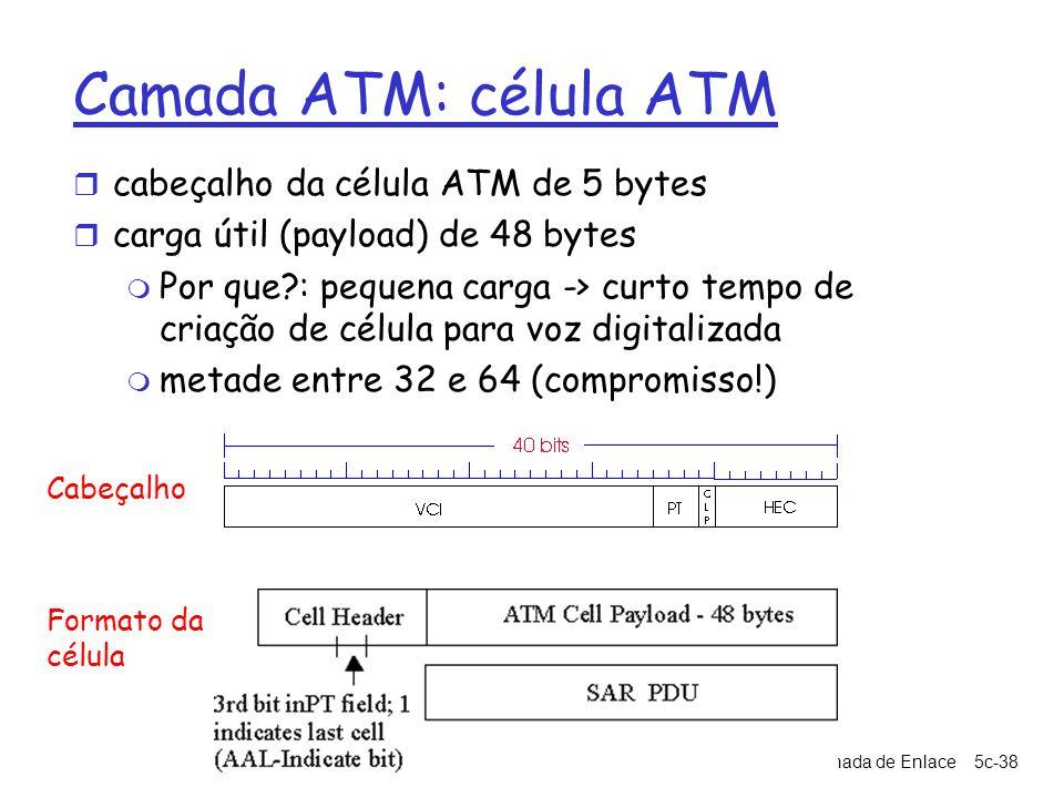 5: Camada de Enlace5c-38 Camada ATM: célula ATM r cabeçalho da célula ATM de 5 bytes r carga útil (payload) de 48 bytes m Por que?: pequena carga -> c