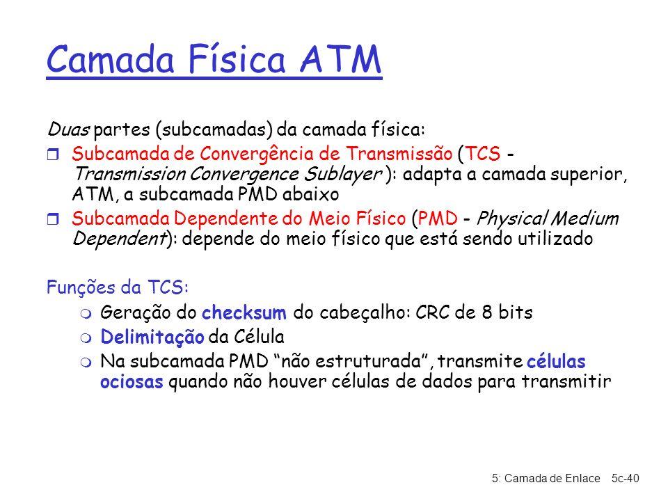 5: Camada de Enlace5c-40 Camada Física ATM Duas partes (subcamadas) da camada física: r Subcamada de Convergência de Transmissão (TCS - Transmission C
