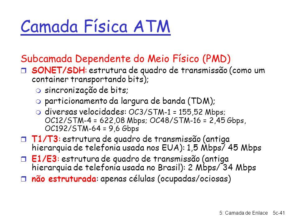 5: Camada de Enlace5c-41 Camada Física ATM Subcamada Dependente do Meio Físico (PMD) r SONET/SDH: estrutura de quadro de transmissão (como um containe