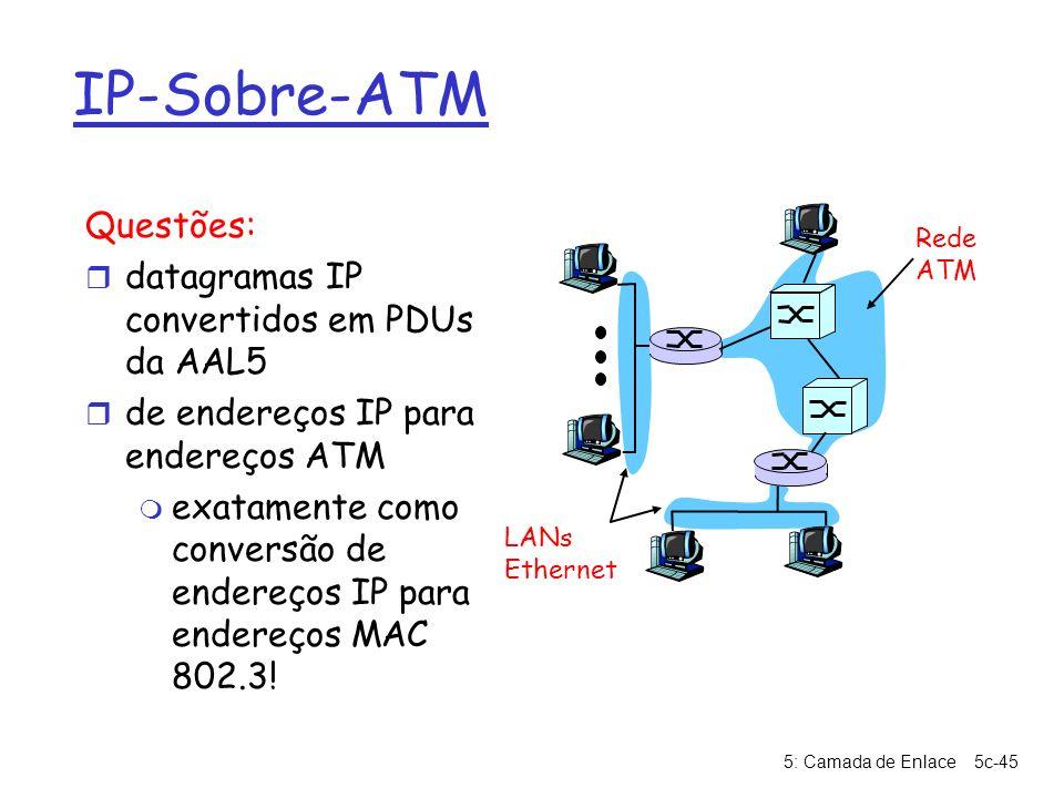 5: Camada de Enlace5c-45 IP-Sobre-ATM Questões: r datagramas IP convertidos em PDUs da AAL5 r de endereços IP para endereços ATM m exatamente como con