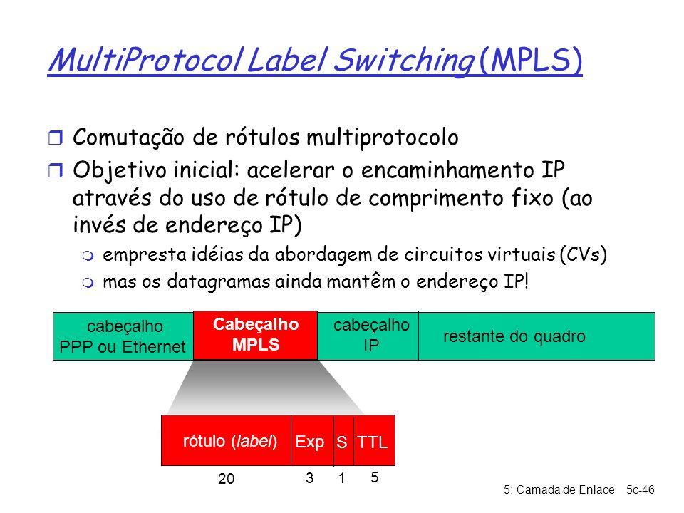 5: Camada de Enlace5c-46 MultiProtocol Label Switching (MPLS) r Comutação de rótulos multiprotocolo r Objetivo inicial: acelerar o encaminhamento IP a