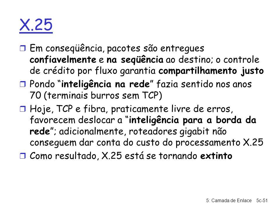 5: Camada de Enlace5c-51 X.25 r Em conseqüência, pacotes são entregues confiavelmente e na seqüência ao destino; o controle de crédito por fluxo garan