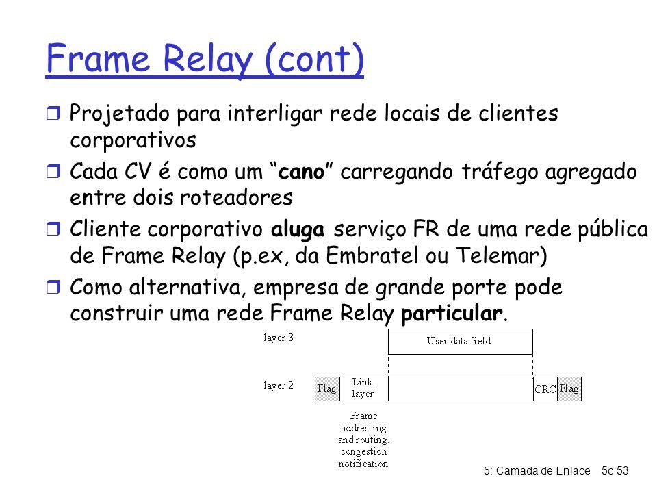 5: Camada de Enlace5c-53 Frame Relay (cont) r Projetado para interligar rede locais de clientes corporativos r Cada CV é como um cano carregando tráfe