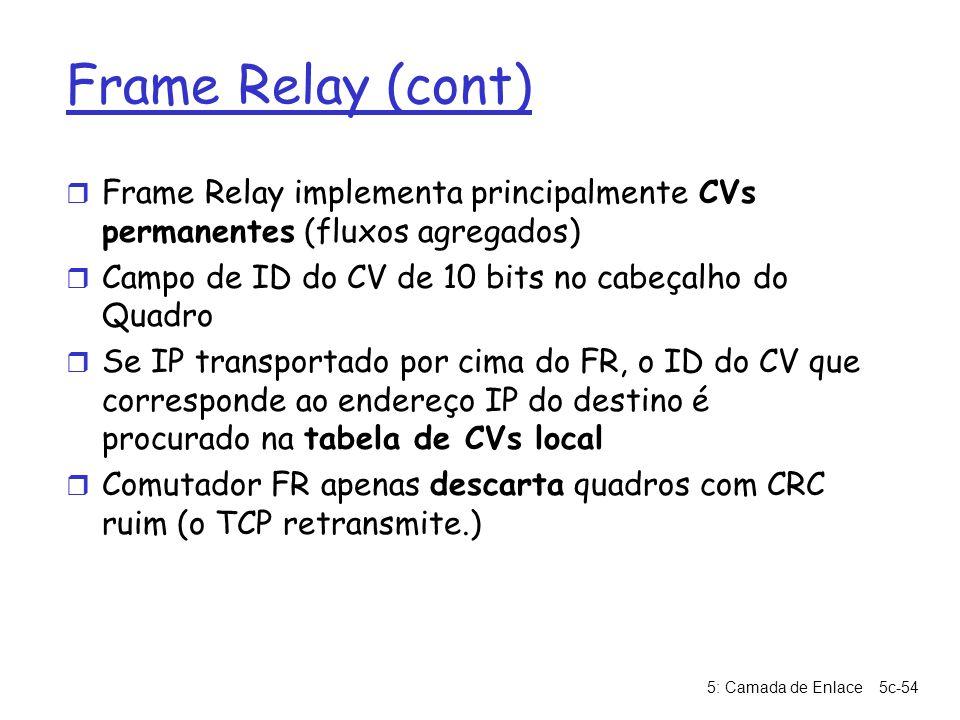 5: Camada de Enlace5c-54 Frame Relay (cont) r Frame Relay implementa principalmente CVs permanentes (fluxos agregados) r Campo de ID do CV de 10 bits