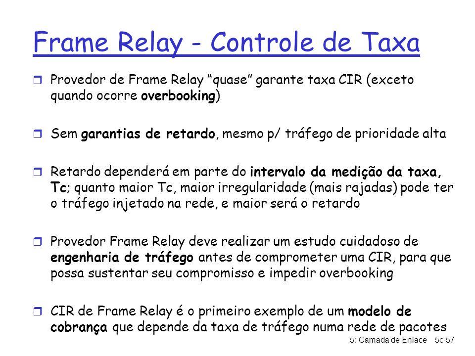 5: Camada de Enlace5c-57 Frame Relay - Controle de Taxa r Provedor de Frame Relay quase garante taxa CIR (exceto quando ocorre overbooking) r Sem gara