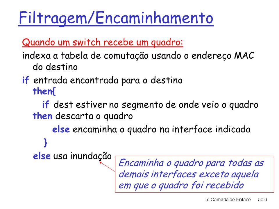5: Camada de Enlace5c-7 Exemplo com Switch Suponha que C envia quadro para D r Switch recebe o quadro vindo de C m anota na tabela de comutação que C está na interface 1 m dado que D não se encontra na tabela, encaminha o quadro para as demais interfaces: 2 e 3 r quadro é recebido por D hub switch A B C D E F G H I endereço interface ABEGABEG 11231123 1 2 3