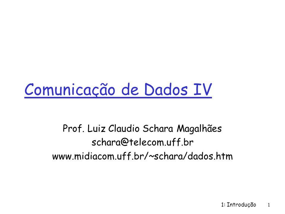 1: Introdução1 Comunicação de Dados IV Prof. Luiz Claudio Schara Magalhães schara@telecom.uff.br www.midiacom.uff.br/~schara/dados.htm