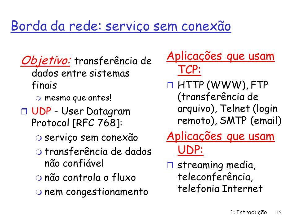 1: Introdução15 Borda da rede: serviço sem conexão Objetivo: transferência de dados entre sistemas finais m mesmo que antes! r UDP - User Datagram Pro