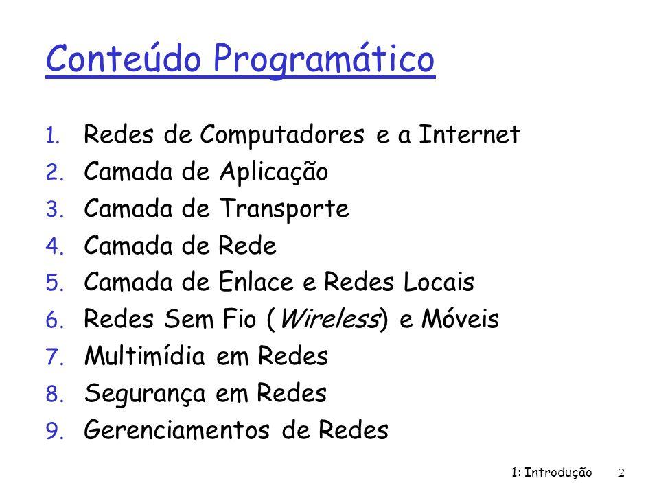 1: Introdução2 Conteúdo Programático 1. Redes de Computadores e a Internet 2. Camada de Aplicação 3. Camada de Transporte 4. Camada de Rede 5. Camada