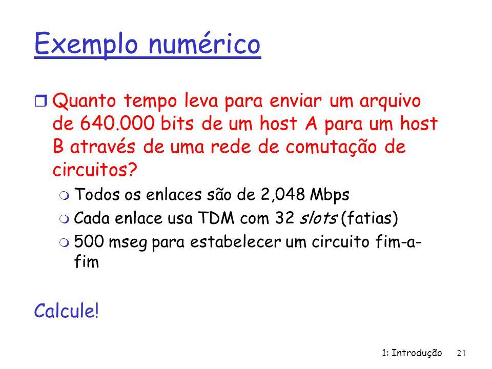 1: Introdução21 Exemplo numérico r Quanto tempo leva para enviar um arquivo de 640.000 bits de um host A para um host B através de uma rede de comutaç