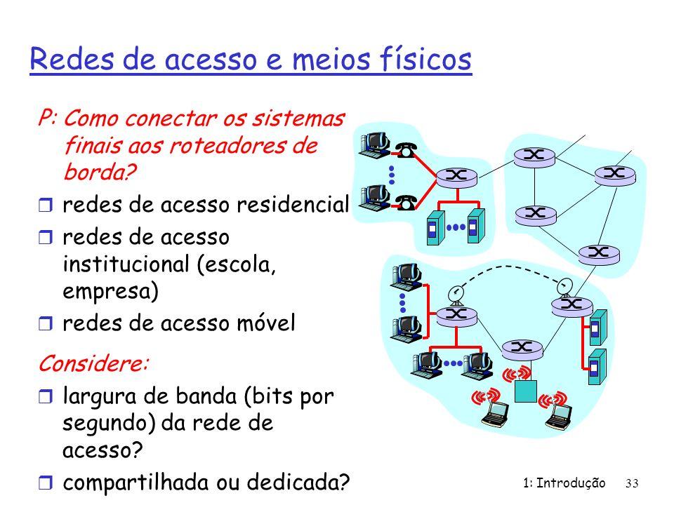 1: Introdução33 Redes de acesso e meios físicos P: Como conectar os sistemas finais aos roteadores de borda? r redes de acesso residencial r redes de