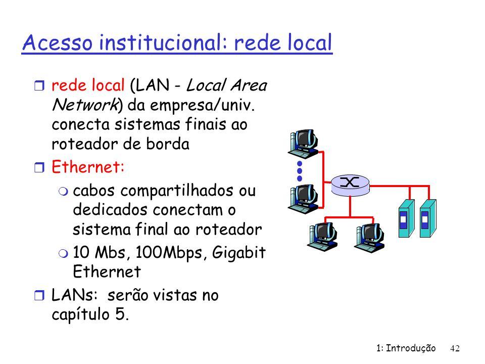 1: Introdução42 Acesso institucional: rede local r rede local (LAN - Local Area Network) da empresa/univ. conecta sistemas finais ao roteador de borda