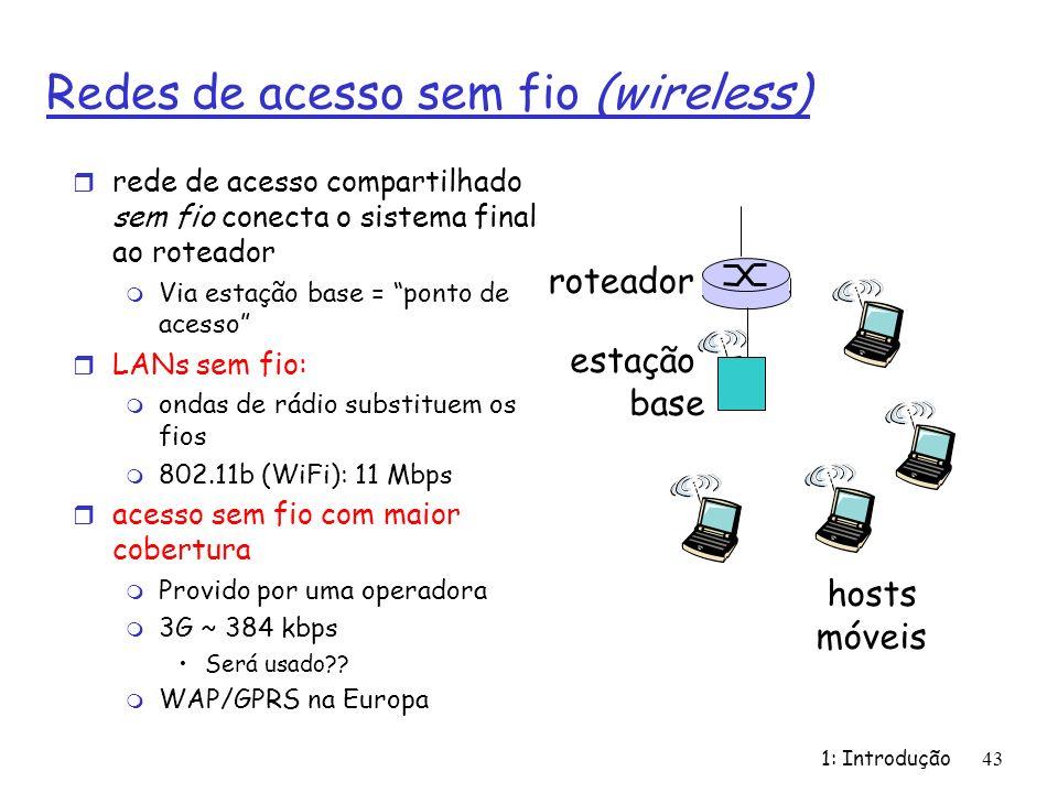 1: Introdução43 Redes de acesso sem fio (wireless) r rede de acesso compartilhado sem fio conecta o sistema final ao roteador m Via estação base = pon