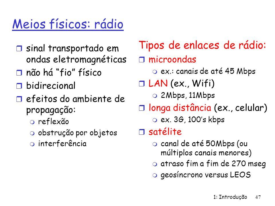 1: Introdução47 Meios físicos: rádio r sinal transportado em ondas eletromagnéticas r não há fio físico r bidirecional r efeitos do ambiente de propag