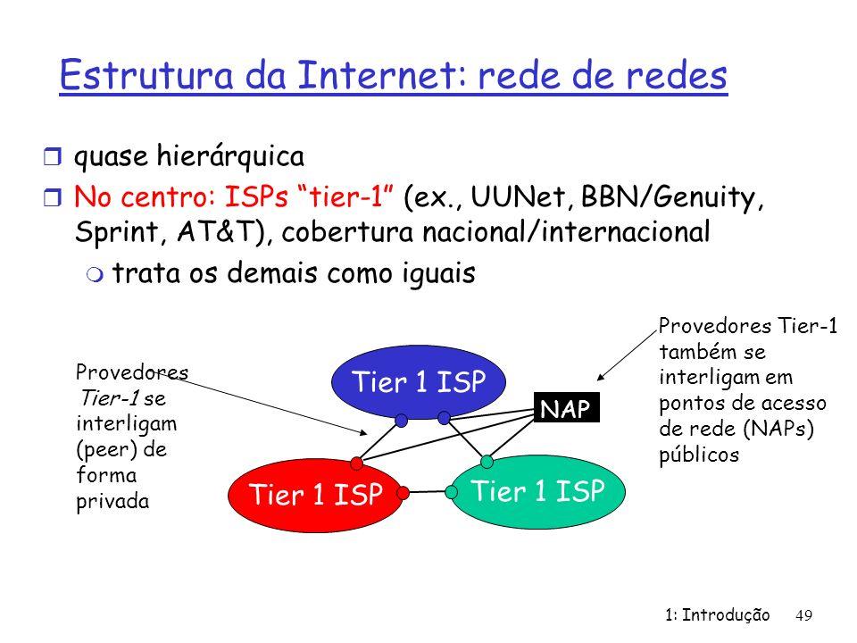 1: Introdução49 r quase hierárquica r No centro: ISPs tier-1 (ex., UUNet, BBN/Genuity, Sprint, AT&T), cobertura nacional/internacional m trata os dema