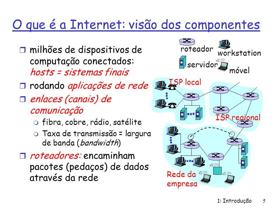 1: Introdução5 O que é a Internet: visão dos componentes r milhões de dispositivos de computação conectados: hosts = sistemas finais r rodando aplicaç