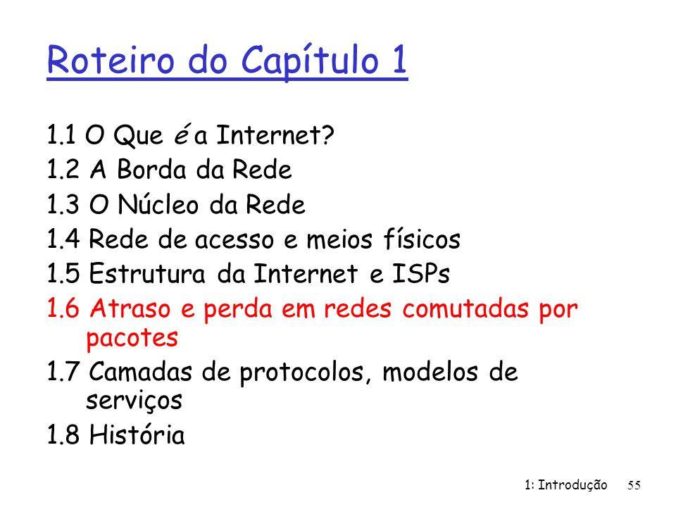 1: Introdução55 Roteiro do Capítulo 1 1.1 O Que é a Internet? 1.2 A Borda da Rede 1.3 O Núcleo da Rede 1.4 Rede de acesso e meios físicos 1.5 Estrutur