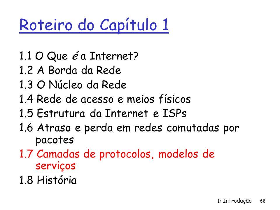 1: Introdução68 Roteiro do Capítulo 1 1.1 O Que é a Internet? 1.2 A Borda da Rede 1.3 O Núcleo da Rede 1.4 Rede de acesso e meios físicos 1.5 Estrutur