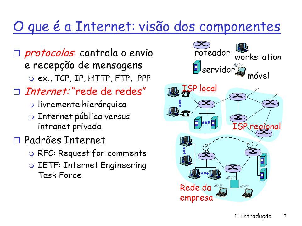 1: Introdução7 O que é a Internet: visão dos componentes r protocolos: controla o envio e recepção de mensagens m ex., TCP, IP, HTTP, FTP, PPP r Inter