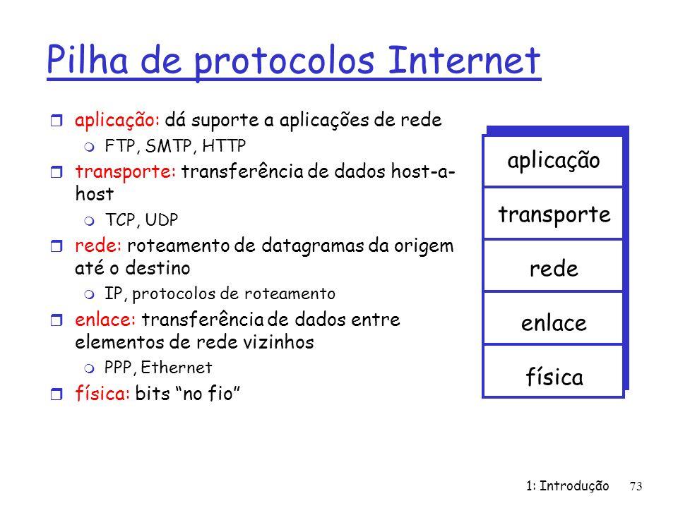 1: Introdução73 Pilha de protocolos Internet r aplicação: dá suporte a aplicações de rede m FTP, SMTP, HTTP r transporte: transferência de dados host-