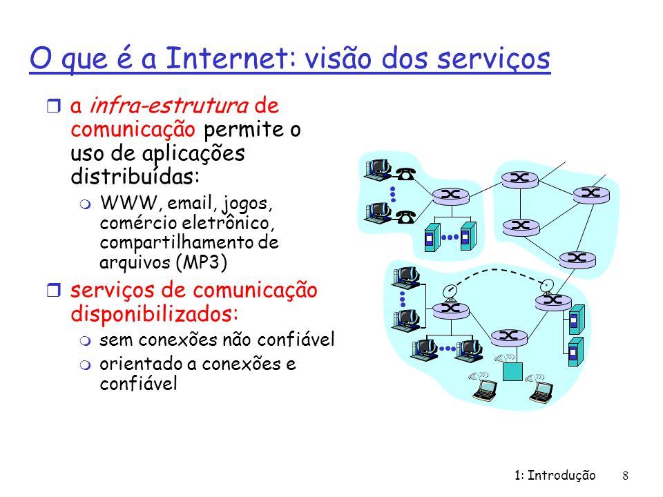 1: Introdução8 O que é a Internet: visão dos serviços r a infra-estrutura de comunicação permite o uso de aplicações distribuídas: m WWW, email, jogos