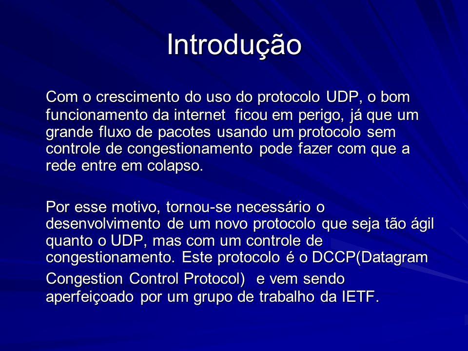 Introdução Com o crescimento do uso do protocolo UDP, o bom funcionamento da internet ficou em perigo, já que um grande fluxo de pacotes usando um pro