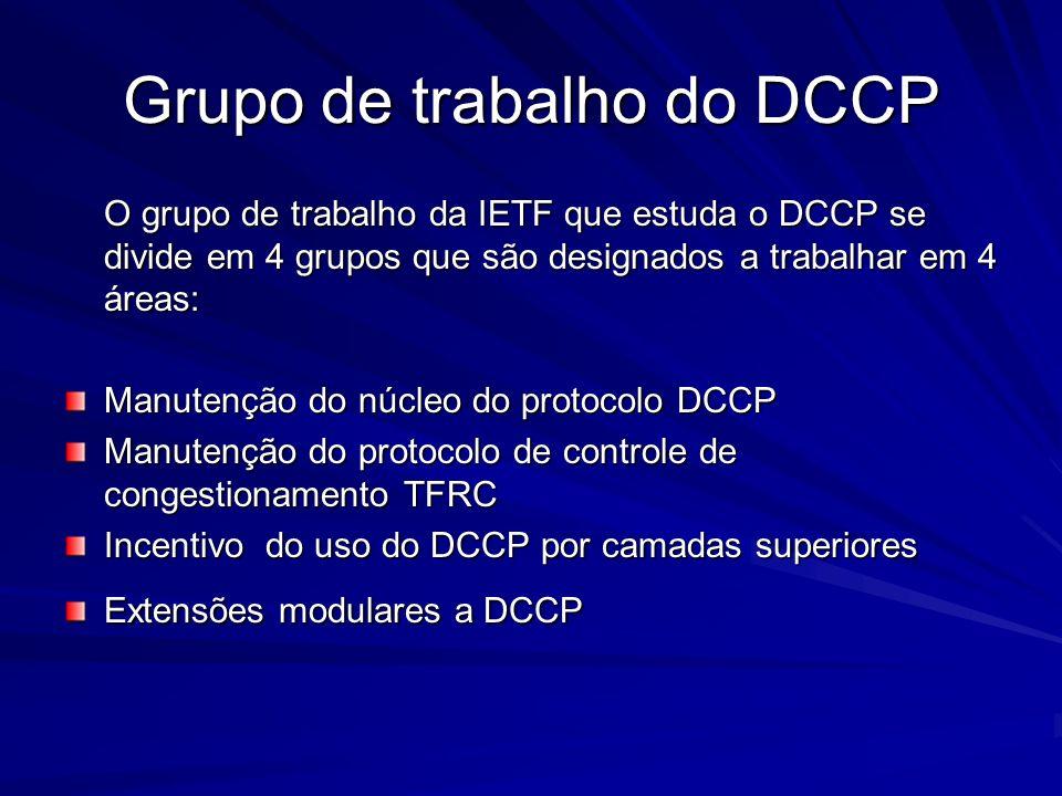 Grupo de trabalho do DCCP O grupo de trabalho da IETF que estuda o DCCP se divide em 4 grupos que são designados a trabalhar em 4 áreas: Manutenção do