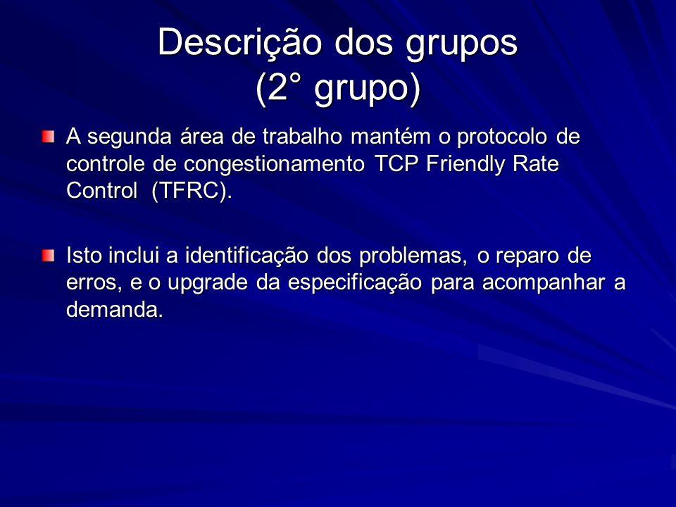 Descrição dos grupos (2° grupo) A segunda área de trabalho mantém o protocolo de controle de congestionamento TCP Friendly Rate Control (TFRC). Isto i