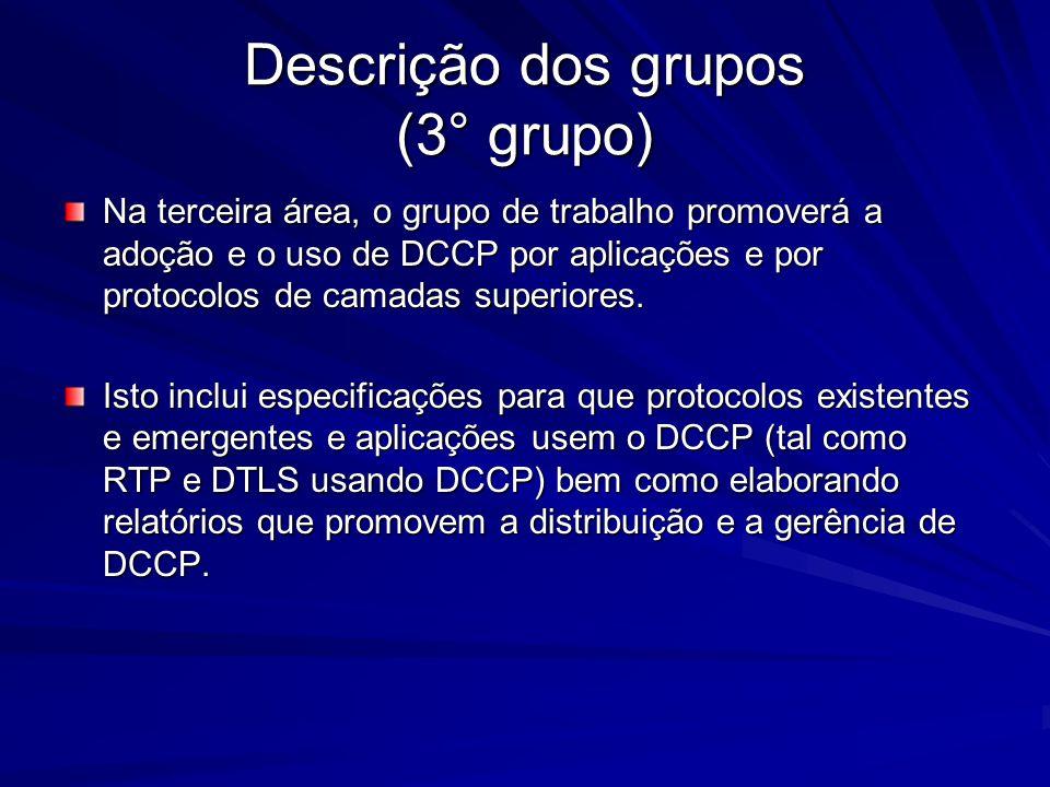 Descrição dos grupos (3° grupo) Na terceira área, o grupo de trabalho promoverá a adoção e o uso de DCCP por aplicações e por protocolos de camadas su