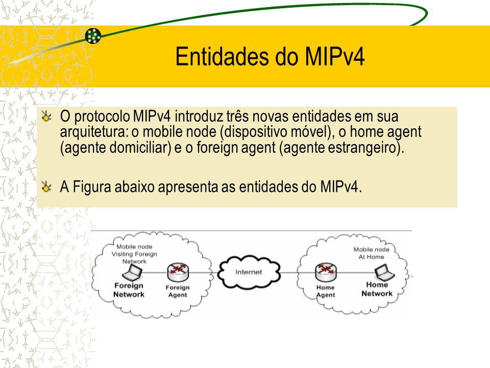 Entidades do MIPv4 O protocolo MIPv4 introduz três novas entidades em sua arquitetura: o mobile node (dispositivo móvel), o home agent (agente domicil