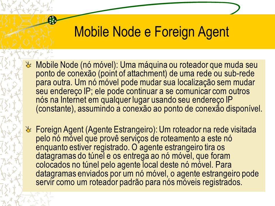 Mobile Node e Foreign Agent Mobile Node (nó móvel): Uma máquina ou roteador que muda seu ponto de conexão (point of attachment) de uma rede ou sub-red