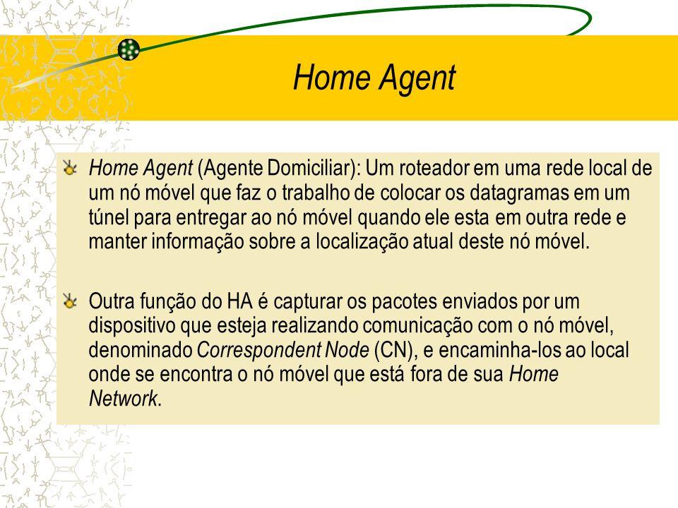 Home Agent (Agente Domiciliar): Um roteador em uma rede local de um nó móvel que faz o trabalho de colocar os datagramas em um túnel para entregar ao