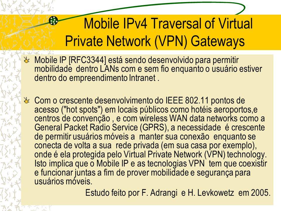 Mobile IPv4 Traversal of Virtual Private Network (VPN) Gateways Mobile IP [RFC3344] está sendo desenvolvido para permitir mobilidade dentro LANs com e