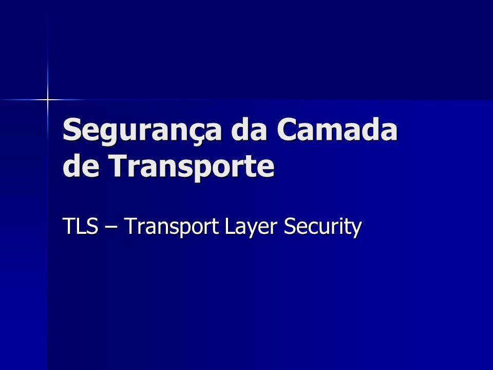 Segurança da Camada de Transporte TLS – Transport Layer Security