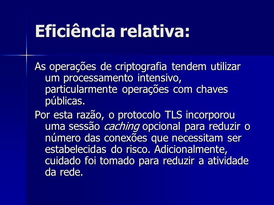 Eficiência relativa: As operações de criptografia tendem utilizar um processamento intensivo, particularmente operações com chaves públicas. Por esta